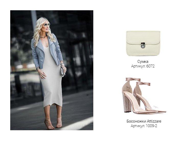 6e468efc36f9 Платье по фигуре в стиле casual – идеальный вариант для похода в ресторан  или колоритное кафе, а бежевые босоножки на изящном каблуке помогут  зрительно ...
