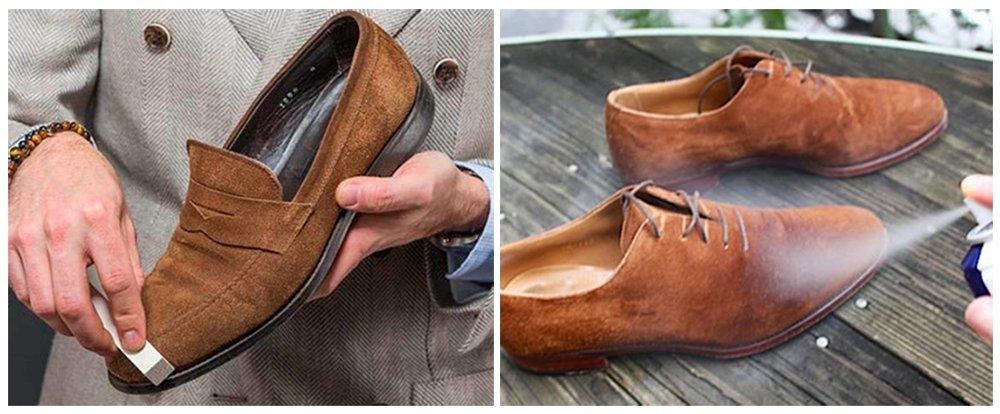 4bfc5c655 Если обувь все-таки стала влажной, ее необходимо просушить перед тем, как  чистить. Для самой чистки используйте щетку для замши или фланелевую тряпку.